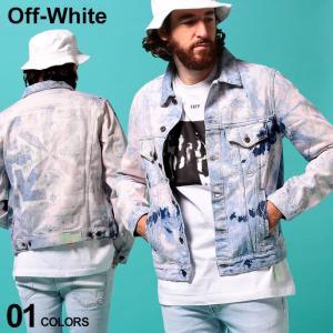 オフホワイト メンズ デニムジャケット OFF-WHITE ブリーチ バック ロゴ フルボタン EXTREME BLEACH SLIM ブランド ブルゾン Gジャン OWYE05R20386020|zen