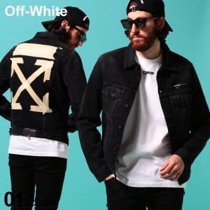 オフホワイト メンズ デニムジャケット OFF-WHITE バックプリント フルボタン TAPE ARROWS SLIM ブランド Gジャン ブラックデニム OWYE05R20E54002|zen