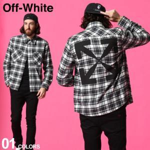 オフホワイト メンズ OFF-WHITE シャツ 長袖 コットン チェック ロゴ バックプリント ブランド トップス シャツ 長袖 チェックシャツ OWGA133R21FAB02|zen