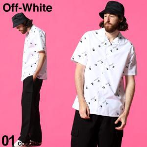 オフホワイト メンズ OFF-WHITE シャツ 半袖 ロゴ 総柄 プリント オープンカラー OW ALLOVER ブランド トップス 開襟シャツ コットン OWGA163R21FAB01|zen