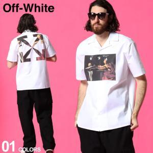 オフホワイト メンズ OFF-WHITE シャツ 半袖 カラヴァッジョ ロゴ バックプリント オープンカラー CARAVAGGIO ブランド トップス 開襟シャツ OWGA163R21FAB04|zen