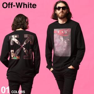 オフホワイト メンズ  Tシャツ  長袖 OFF-WHITE スプラッシュ プリント SPRAYED CARAVAGGIO ブランド カラヴァッジョ トップス ロンT OWAB01S21JER009 zen
