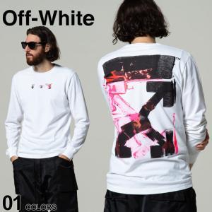 OFF-WHITE オフホワイト プリント クルーネック 長袖 Tシャツ ACRYLIC ARROW ブランド メンズ トップス ロンT OWAB01F21JER005|zen