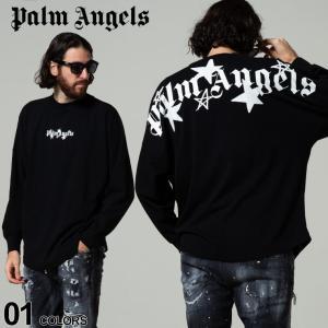 Palm Angels パームエンジェルス ロゴ プリント クルーネック 長袖 Tシャツ SHOOTING STARS ブランド メンズ トップス ロンT PAAB01F21JER002|zen