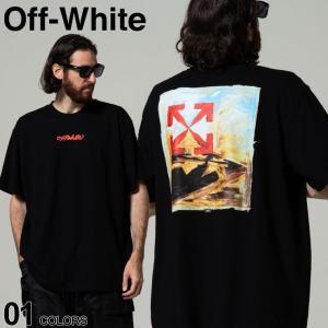 OFF-WHITE オフホワイト バックプリント クルーネック 半袖 Tシャツ ARROW ON CANVAS OVER ブランド メンズ トップス OWAA38F21JER004|zen