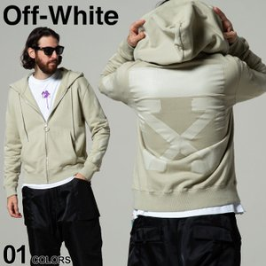 OFF-WHITE オフホワイト スウェット フルジップ パーカー RUBBER ARROW SLIM ブランド メンズ トップス ジップ OWBE01F21FLE003|zen