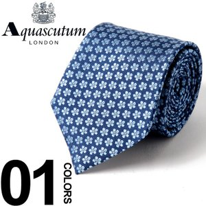 アクアスキュータム Aquascutum ネクタイ シルク 青 花柄 小紋 ブランド メンズ 紳士 ビジネス 雑貨 AQSS5151|zen