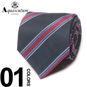 アクアスキュータム Aquascutum ネクタイ シルク100% レジメンタル ストライプ ブランド メンズ 紳士 ビジネスAQAW6611|zen