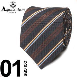 アクアスキュータム Aquascutum ネクタイ シルク100% レジメンタル ストライプ ブランド メンズ 紳士 ビジネスAQAW6573 zen