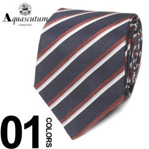 アクアスキュータム Aquascutum ネクタイ シルク100% レジメンタル ストライプ ブランド メンズ 紳士 ビジネスAQAW6133|zen