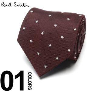ポール スミス Paul Smith ネクタイ シルク100% スター総柄 RED ブランド タイ シルク PSAZ0928 父の日 ギフト プレゼント|zen