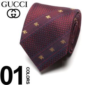 グッチ GUCCI ネクタイ シルク100% ビー ストライプ ロゴ RED ブランド タイ シルク GC4515286174 父の日 ギフト プレゼント|zen