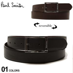 ポールスミス ベルト メンズ Paul Smith リバーシブル レザー スクエアバックル ブランド 黒 茶色 ビジネス 本革 PSM1A4437|zen