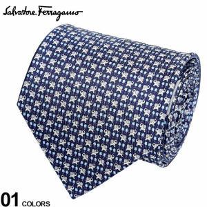 サルヴァトーレ フェラガモ メンズ ネクタイ Salvatore Ferragamo シルク100% ゾウ 小花 総柄 紺 ブランド ビジネス ネクタイ シルク 絹 柄 FG350252001|zen