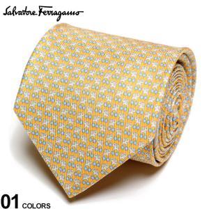サルヴァトーレ フェラガモ メンズ ネクタイ Salvatore Ferragamo シルク100% ゾウ 小花 総柄 黄色 ブランド ビジネス ネクタイ シルク 絹 柄 FG350252006|zen