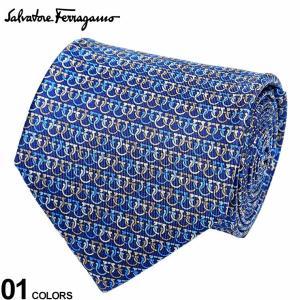サルヴァトーレ フェラガモ メンズ ネクタイ Salvatore Ferragamo シルク100% ガンチーニ総柄 青 ブランド ビジネス ネクタイ シルク 絹 柄 FG350272003|zen
