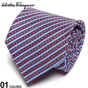 サルヴァトーレ フェラガモ メンズ ネクタイ Salvatore Ferragamo シルク100% ガンチーニ ストライプ 水色 赤 紺 ブランド ビジネス シルク 絹 柄 FG350294003|zen