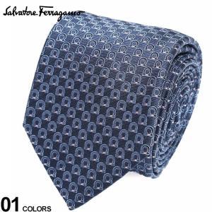 サルヴァトーレ フェラガモ メンズ ネクタイ Salvatore Ferragamo シルク100% ガンチーニ総柄 紺 ブランド ビジネス ネクタイ シルク 絹 柄 FG350325001|zen