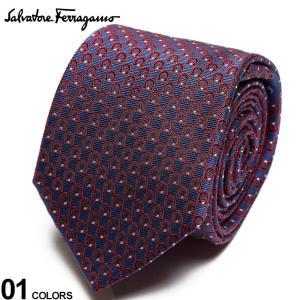 サルヴァトーレ フェラガモ メンズ ネクタイ Salvatore Ferragamo シルク100% ガンチーニ総柄 紺 赤 ブランド ビジネス ネクタイ シルク 絹 柄 FG350325002|zen