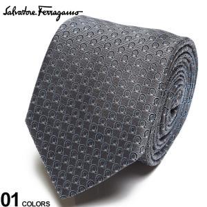 サルヴァトーレ フェラガモ メンズ ネクタイ Salvatore Ferragamo シルク100% ガンチーニ総柄 グレー ブランド ビジネス ネクタイ シルク 絹 柄 FG350325005|zen