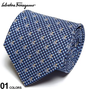 サルヴァトーレ フェラガモ メンズ ネクタイ Salvatore Ferragamo シルク100% リス総柄 紺 ブランド ビジネス ネクタイ シルク 絹 柄 FG350361001|zen