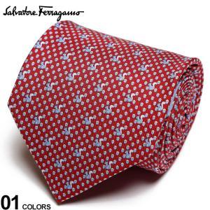 サルヴァトーレ フェラガモ メンズ ネクタイ Salvatore Ferragamo シルク100% リス総柄 赤 ブランド ビジネス ネクタイ シルク 絹 柄 FG350361005|zen