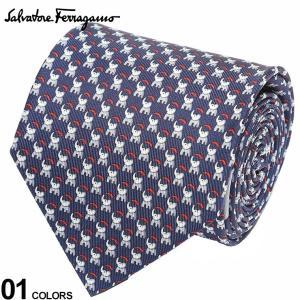 サルヴァトーレ フェラガモ メンズ ネクタイ Salvatore Ferragamo シルク100% ゾウ総柄 紺 ブランド ビジネス ネクタイ シルク 絹 柄 FG350364001|zen