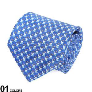 サルヴァトーレ フェラガモ メンズ ネクタイ Salvatore Ferragamo シルク100% ゾウ総柄 青 ブランド ビジネス ネクタイ シルク 絹 柄 FG350364003|zen