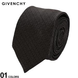ジバンシィ ネクタイ GIVENCHY シルク100% 総柄 ブランド メンズ 紳士 ビジネス シルク 絹 黒 チャコール GVJ41661|zen