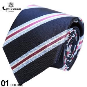アクアスキュータム Aquascutum シルク100% ストライプ ネクタイ 紺 ブランド メンズ 紳士 ビジネス シルク AQSS3021|zen