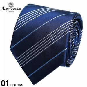 アクアスキュータム Aquascutum シルク100% 細ライン ストライプ ネクタイ 紺 ブランド メンズ 紳士 ビジネス シルク AQSS3281|zen