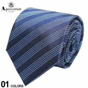 アクアスキュータム Aquascutum シルク100% 5本 ストライプ ネクタイ 紺 ブランド メンズ 紳士 ビジネス シルク AQSS3291|zen