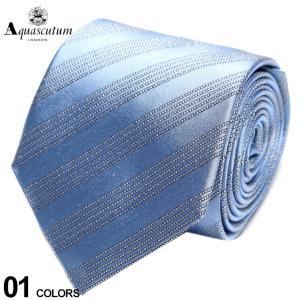 アクアスキュータム Aquascutum シルク100% 5本 ストライプ ネクタイ 青 ブランド メンズ 紳士 ビジネス シルク AQSS3293|zen