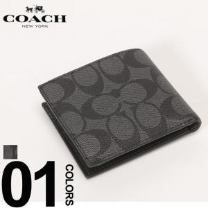 コーチ COACH 財布 レザー シグネチャー 二つ折り 小銭入れ ブランド メンズ ビジネス ハーフウォレット COF75006|zen