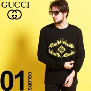 グッチ GUCCI Tシャツ 長袖 ロンT メタル プリント クルーネック ブランド メンズ トップス カットソー プリント GG GC476330XJAI7|zen