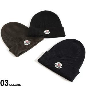 【無料クリスマスラッピング対象】 モンクレール ニットキャップ MONCLER ウール ロゴ ワッペン ニット帽 ブランド メンズ 帽子 リブ編み MC002170004957|zen