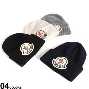 【無料クリスマスラッピング対象】 モンクレール ニットキャップ MONCLER ウール ロゴ ビッグワッペン ニット帽 ブランド メンズ 帽子 ビーニー MC9926200A9186|zen