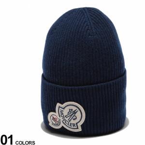 モンクレール ニットキャップ MONCLER ニット帽 カシミヤ混 ウール ロゴ ワッペン 折り返し ブランド 帽子 ビーニー カシミア メンズ レディース MC9927200A9188|zen