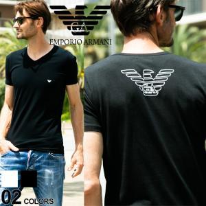 エンポリオアルマーニ EMPORIO ARMANI Tシャツ 胸ロゴ Vネック 半袖 アンダーTシャツ EA110810CC735|zen