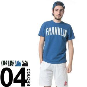 フランクリンマーシャル Franklin&Marshall フロッキープリント クルーネック 半袖 Tシャツ FMTSMF222AN|zen