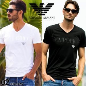 エンポリオアルマーニ EMPORIO ARMANI フロントロゴ Vネック 半袖 アンダーTシャツ EA110810CC716|zen