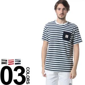 フランクリンマーシャル Franklin&Marshall ロゴポケット ボーダー クルーネック 半袖 Tシャツ FMTSMF200AN|zen