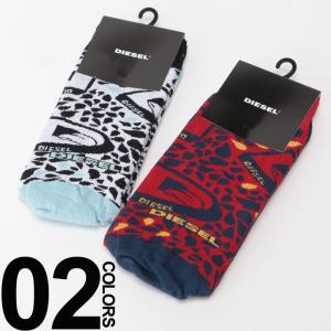 ディーゼル DIESEL ロゴ 総柄 クルー丈 ソックス 靴下 DSS6U0DAPN ブランド メンズ|zen