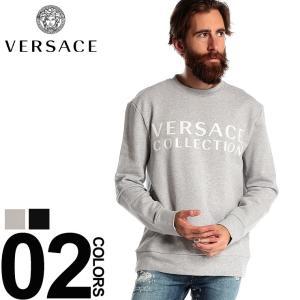 ヴェルサーチ コレクション VERSACE COLLECTION スウェット トレーナー ロゴ プリント クルーネック ブランド メンズ トップス スエット VCV800821NVJ578|zen