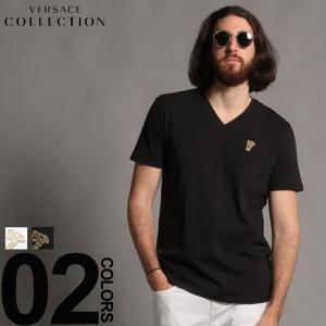 ヴェルサーチ コレクション VERSACE COLLECTION Tシャツ 半袖 Vネック ロゴ ブランド メンズ トップス コットン VCV800490RVJ180|zen