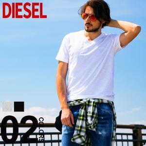 ディーゼル DIESEL Tシャツ 半袖 ロゴ刺繍 Vネック ブランド メンズ トップス 無地 DSSH6AQAQU|zen