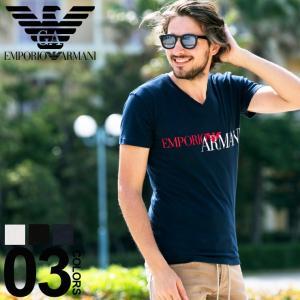 エンポリオ アルマーニ EMPORIO ARMANI Tシャツ 半袖 Vネック ロゴ プリント ブランド メンズ トップス シャツ インナー EA1108109P516|zen