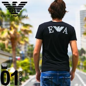エンポリオ アルマーニ EMPORIO ARMANI Tシャツ 半袖 ロゴ Vネック バックプリント ストレッチ イーグル ブランド メンズ トップス EA1108109P523|zen
