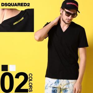 ディースクエアード DSQUARED2 Tシャツ 半袖 ロゴ Vネック ストレッチ ブランド メンズ トップス プリント D2D9M452300|zen