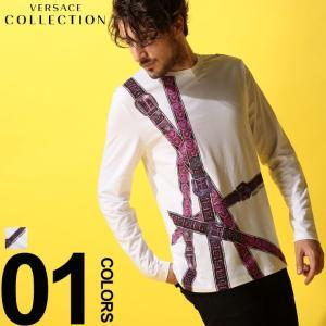 ヴェルサーチ コレクション VERSACE COLLECTION ヴェルサーチェ Tシャツ 長袖 ロンT ベルト プリント ブランド メンズ カットソー VCV800491RVJ615|zen